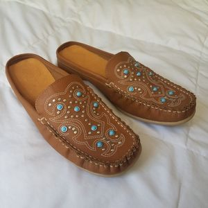 Western Moccasin Silver Turquoise Loafers